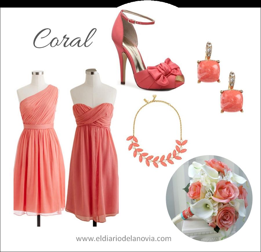 Damas de honor de color coral