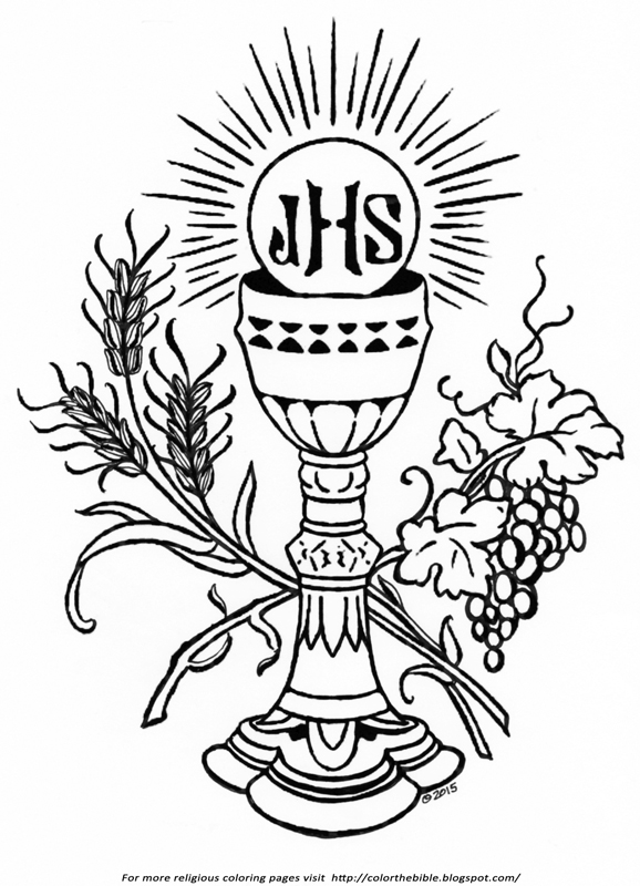 first holy communion coloring pages | The Holy Communion Symbols | Color The Bible