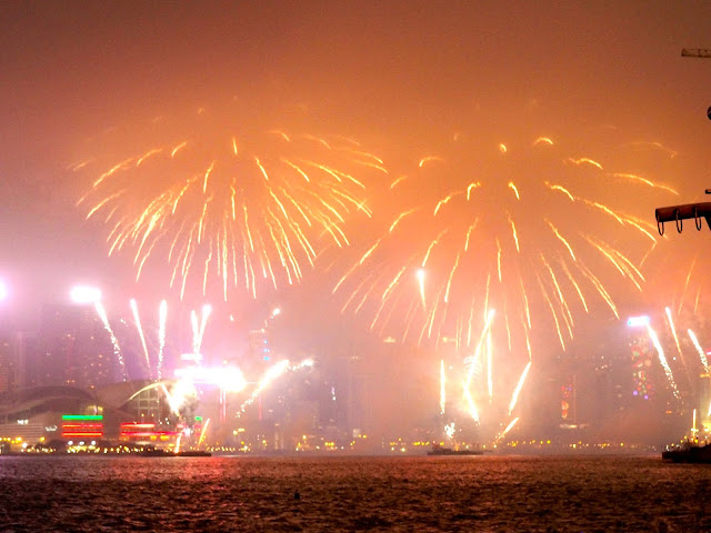 Chinese New Year fireworks over Victoria Harbour, Hong Kong