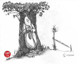 Ghost and spider playing hide and seek in nature - pencil on paper - illustration and design by Cesare Asaro - Curio & Co. (Curio and Co. OG - www.curioandco.com)