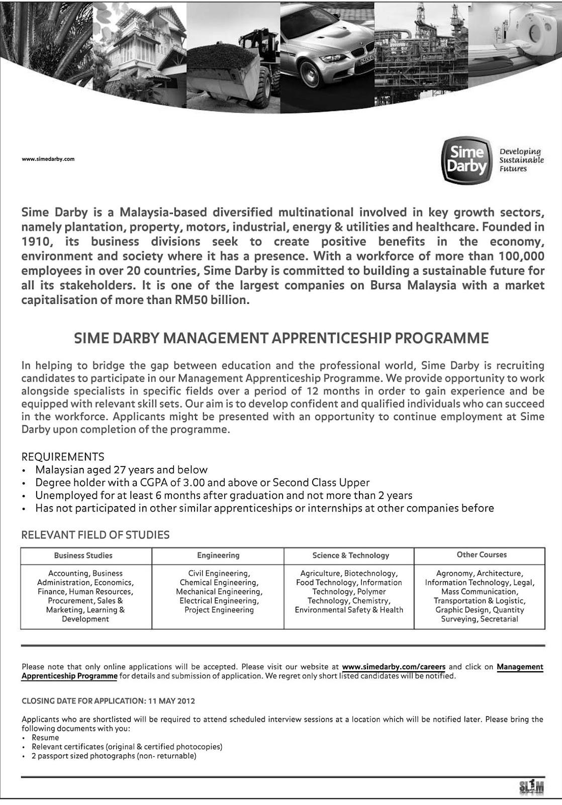 Sime Darby Management Apprenticeship Programme Terkini