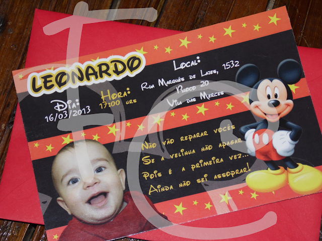 Convite Padrão - Tema: Disney