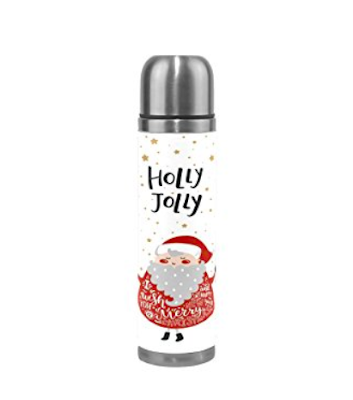 Holly Jolly Santa Stainless Steel Water Bottle 17 Oz Double Wall Vacuum Insulated Thermos Flask Genuine Leather Wrapped Cover Keep Drinks Hot and Cold -  Available on Amazon #hollyjollychristmas #christmasmusic #learnyourchristmascarols #christmasgifts