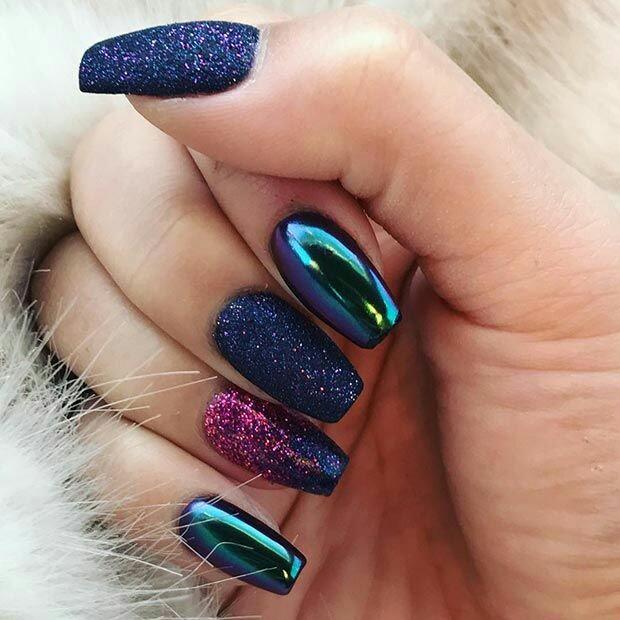 Mixture metallic nail art
