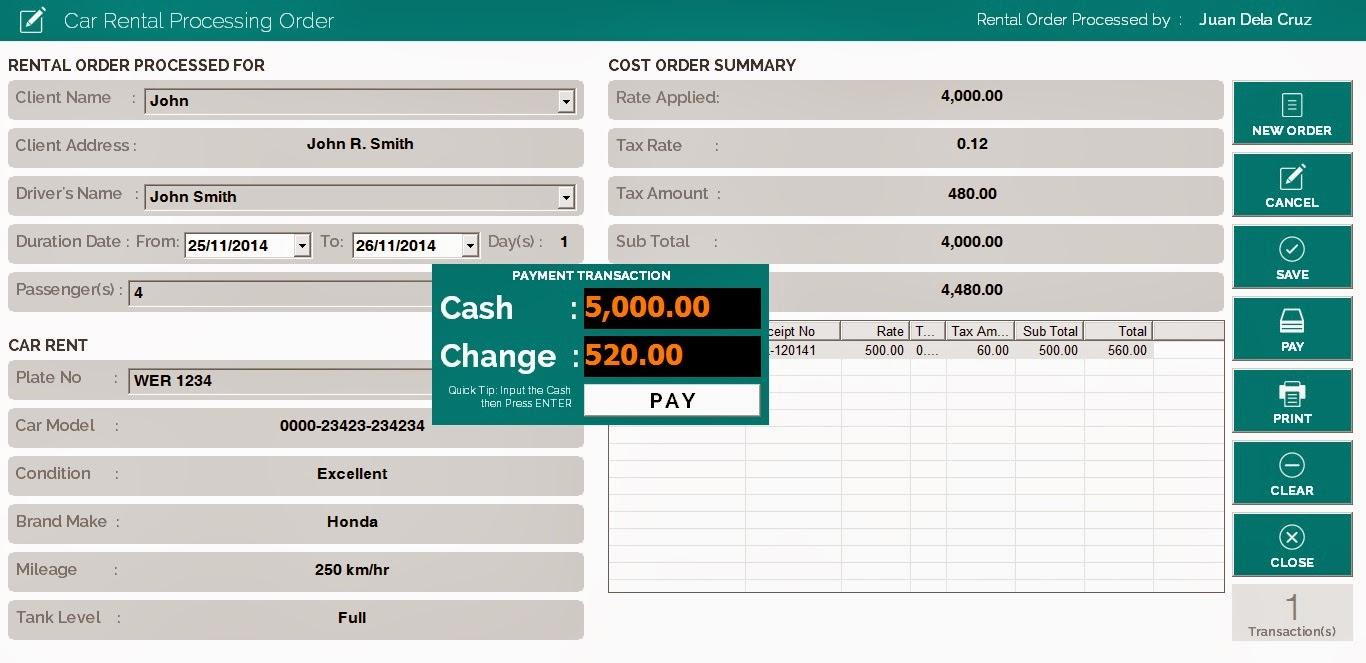 Project Car Rental Management System Code4dev
