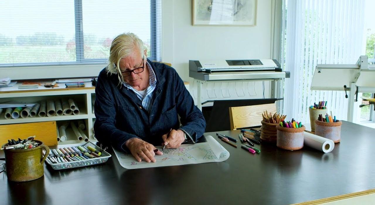 Piet Oudolf en su estudio de diseño de jardines