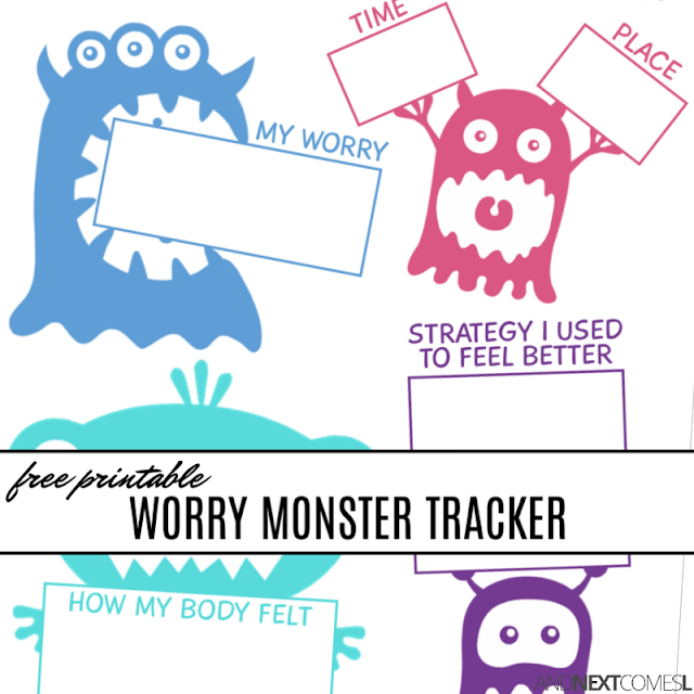 Free monster themed worry tracking sheet for kids