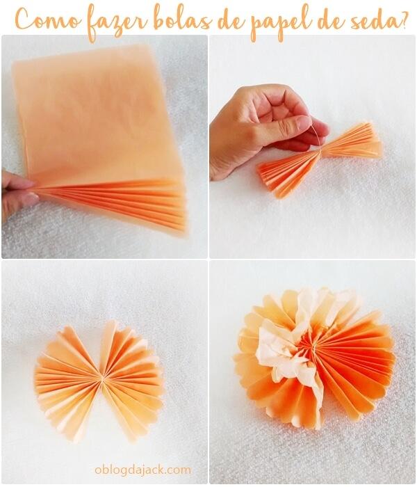 Bolas decorativas ou pompons com papel de seda.