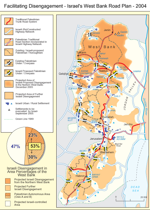 West Bank Wall Map Kdumim Road Map West Bank on