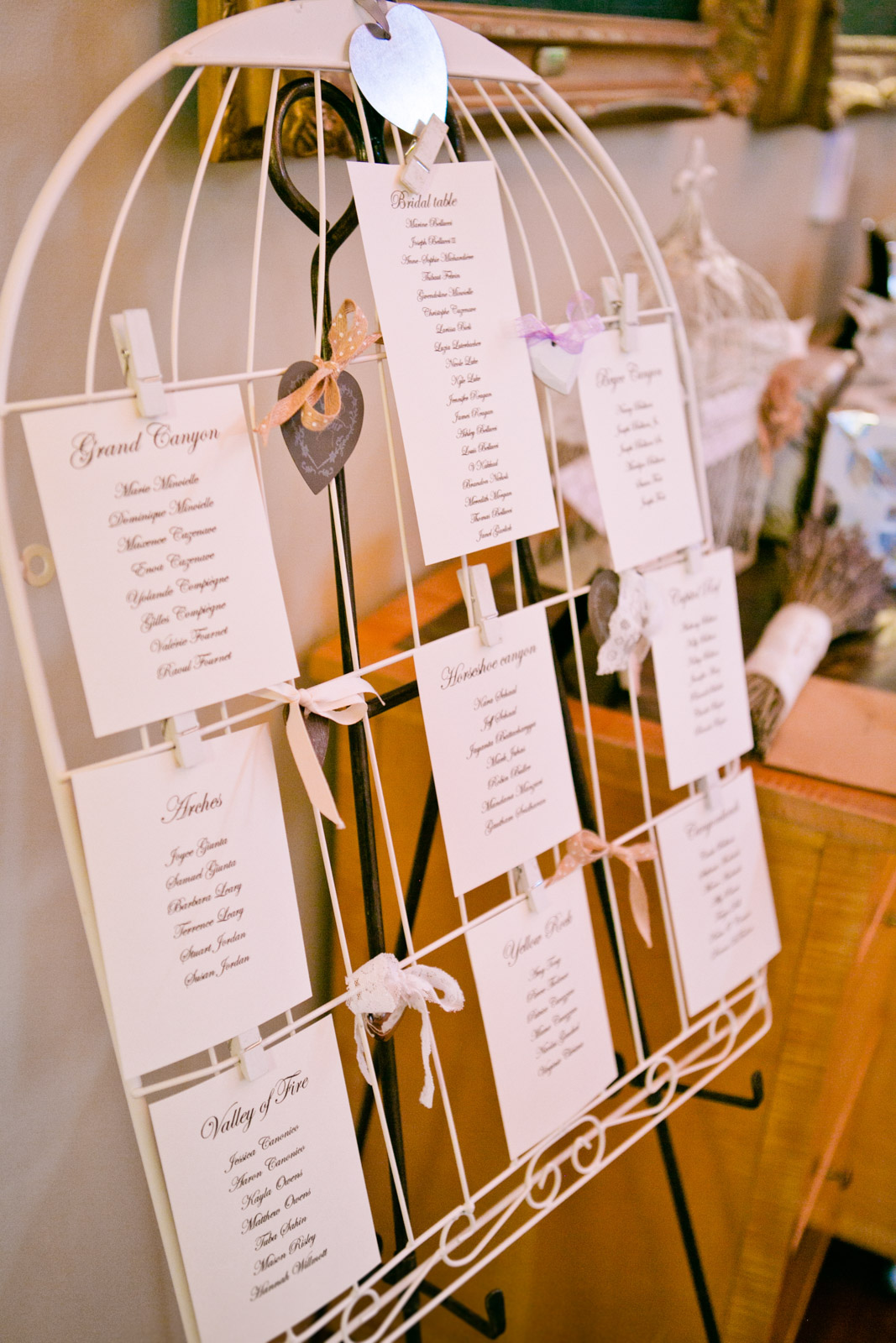 5x7 cards with guests listed are clipped to a large birdcage for a unique table seating assignment at a wedding