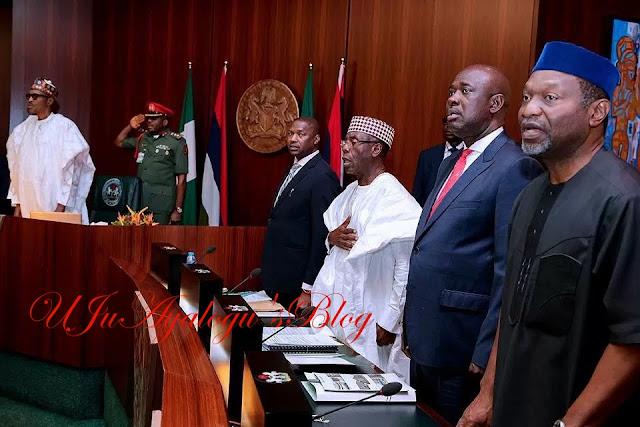 In Photos: President Muhammadu Buhari Looks Healthier As He Presides Over FEC Meeting.