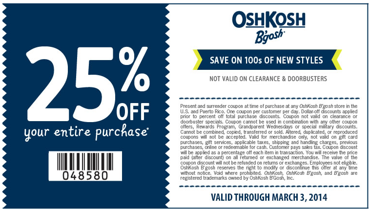 image regarding Osh Coupons Printable identified as Osh kosh bgosh discount codes printable / Lowes 10 off coupon 2018