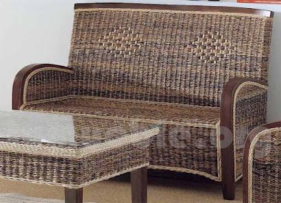 sofa en teca y rattan natural j979