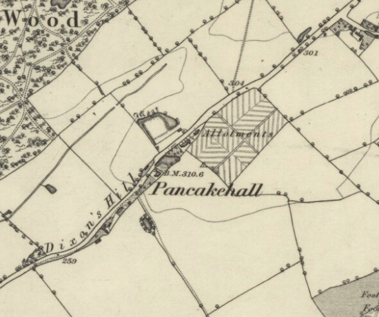 Map: he moat in the centre of the Ordnance Survey 6-inch map Published: 1879 Hertfordshire XXXV (Bishops Hatfield; Colney Heath; North Mimms.)  Image courtesy of the National Library of Scotland  Released under Creative Commons BY-NC-SA 4.0