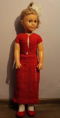 spódnica i bluzka na szydełku dla lalki