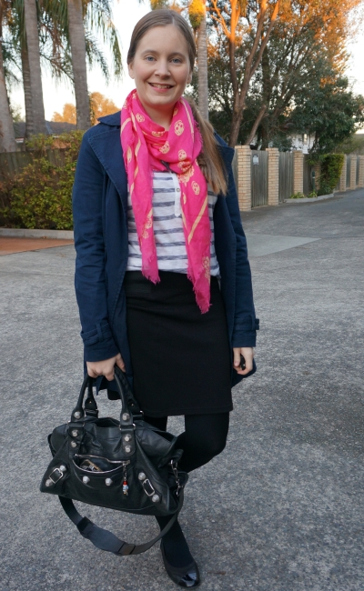 pink alexander mcqueen skull scarf with navy mac stripe henley and pencil skirt | away from blue