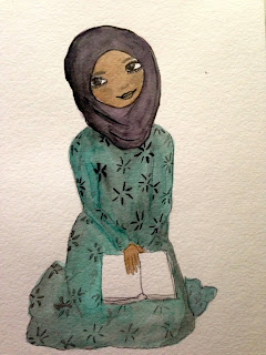 drawing of brown skinned girl in purple hijab and light blue floral dress holding a book, by S. K. Ali