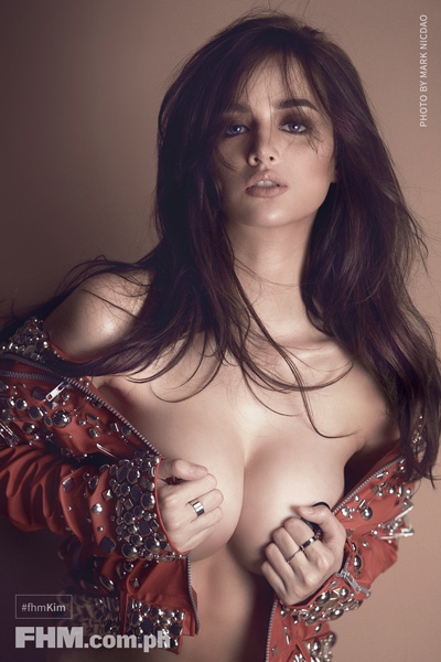 Kim Domingo topless with red jacket