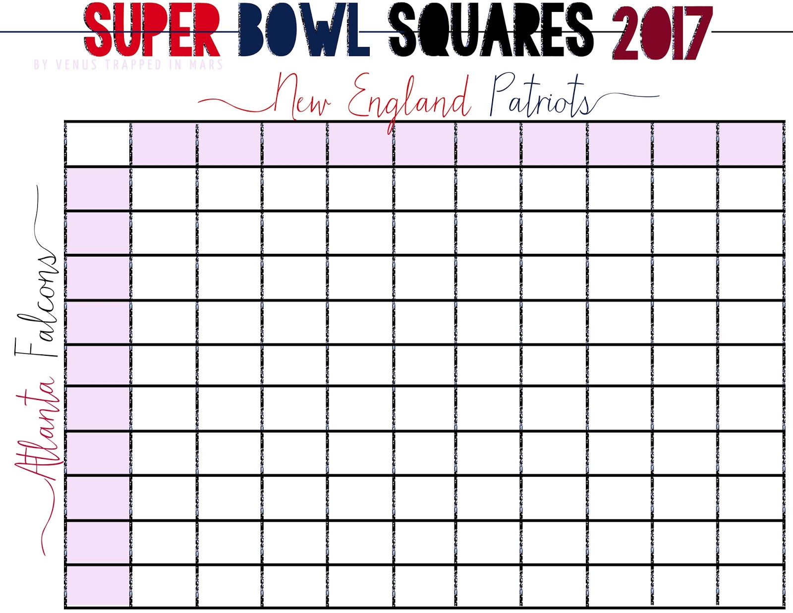 graphic relating to Superbowl Board Printable referred to as Tremendous Bowl Squares 2017 Venus Stuck within Mars Dallas