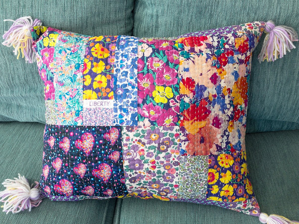 Purple Liberty Kantha-Style Pillow