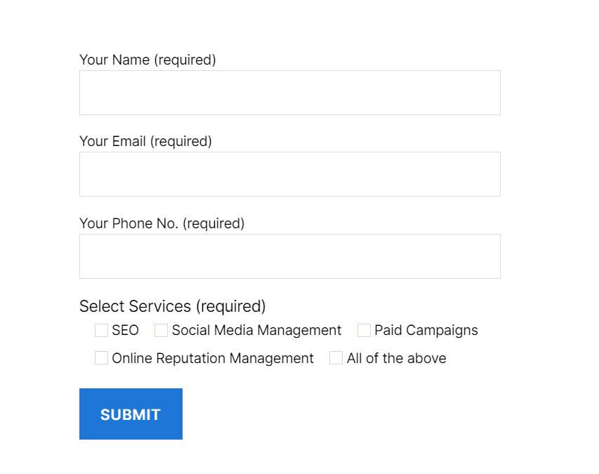 screenshot of contact form
