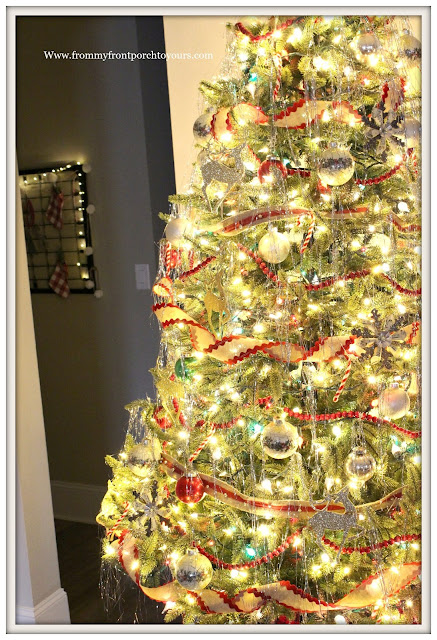 Vintage Inspired Farmhouse Christmas Tree- Tinsel-Jingle Bell Ribbon-Mercury Glass-From My Front Porch To Yours