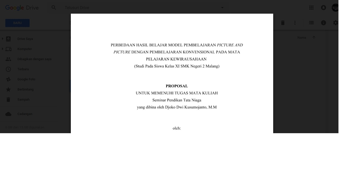 Proposal Skripsi Bahasa Indonesia Kurikulum 2013