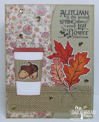 Stamps - Our Daily Bread Designs Autumn Blessings Custom Dies: Fall Leaves and Acorns, Leafy Edged Borders, Beverage Cup Paper Collection: Cozy Quilt