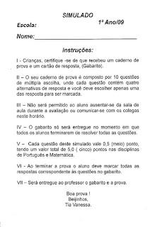 Simulado de português para 1º ano