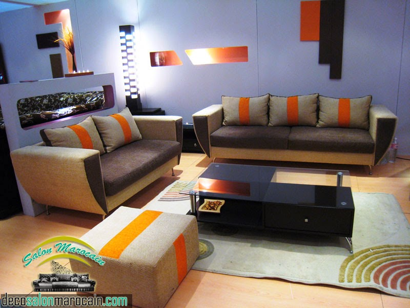 beautiful salon marocain moderne orange marron ideas awesome interior home satellite. Black Bedroom Furniture Sets. Home Design Ideas