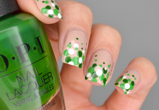 Green Polka Dot Nail Art