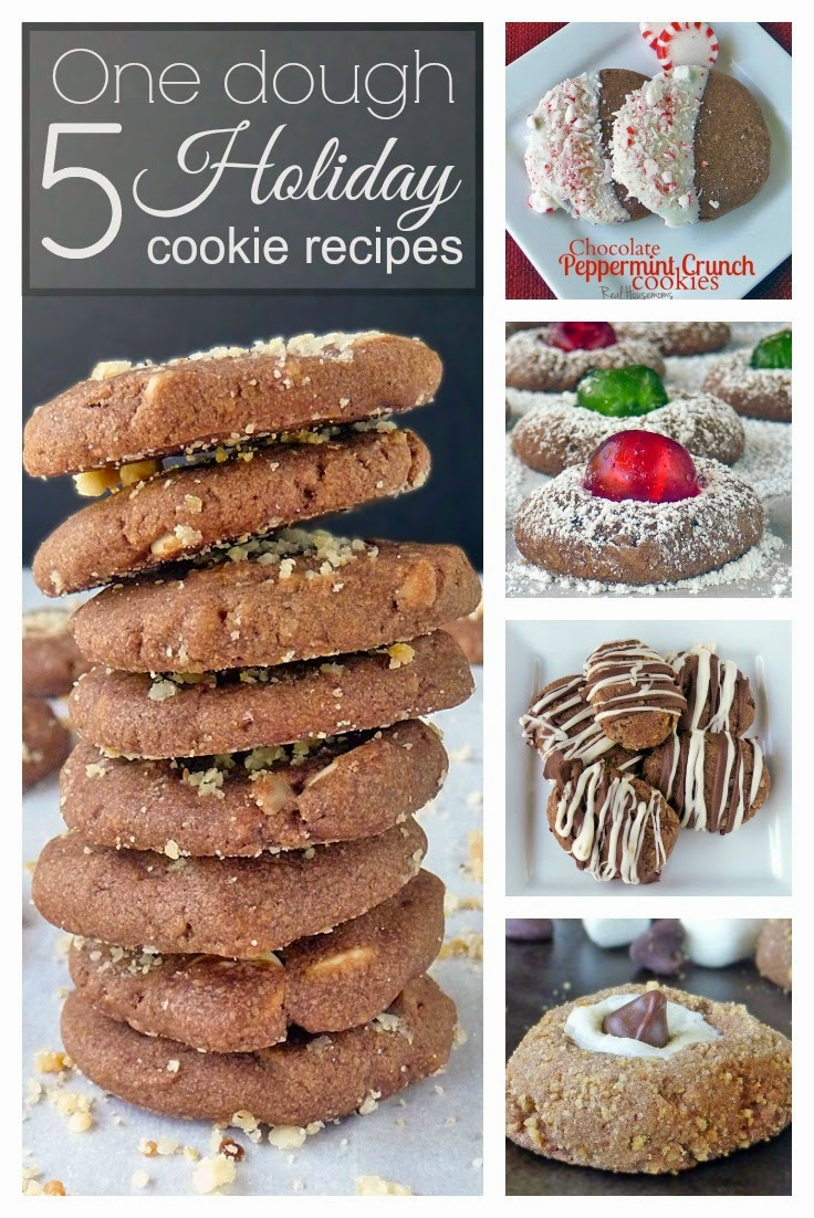 Chocolate Cookie Dough Recipe | by Life Tastes Good is one cookie dough that makes 5 different cookie recipes and a total of 10 dozen cookies from this one basic dough recipe!