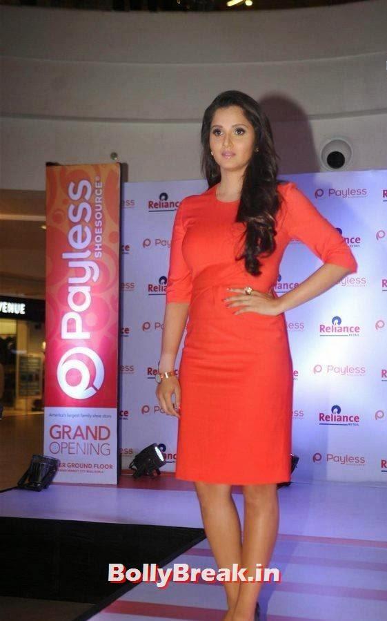 Sania Mirza Pictures, Sania Mirza Hot Pics in Red Midi Dress