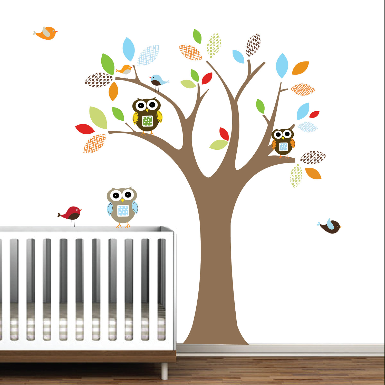 owl wall decals 2017 - Grasscloth Wallpaper