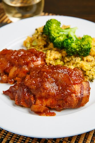 Slow Cooker Bacon Wrapped Apple BBQ Chicken