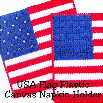 "Decorate for a patriotic summer with these easy plastic canvas pattern. This USA flag napkin holder will take your dessert table or picnic table from ""cool"" to ""amazing""! This pattern stitches up in no time at all to leave you enjoying the party with your guests. #patrioticparty #plasticcanvas #pattern #napkinholder #4thofjuly #patrioticdinner #diypartymomblog"