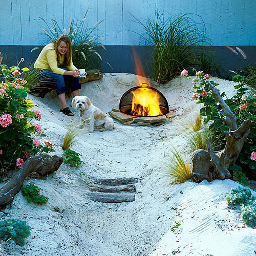 Beach Backyard with Firepit