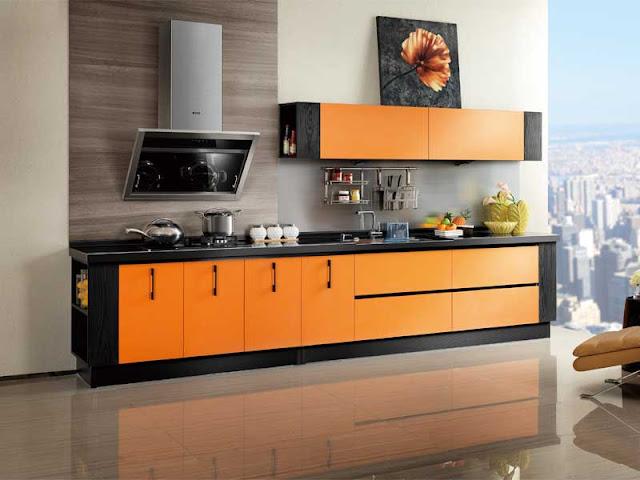 Tủ bếp gỗ Laminate kiểu dáng chữ I trẻ trung
