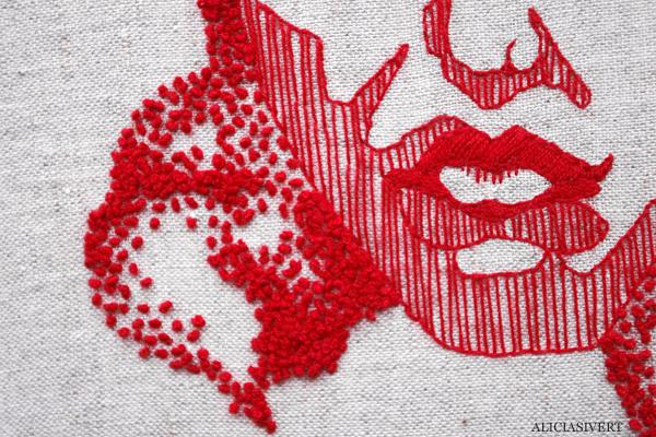 aliciasivert, alicia sivertsson, kaiserin, broderi, embroidery, art, needlework, handicraft, craft, återbruk, textil konst, french knots, franska knutar