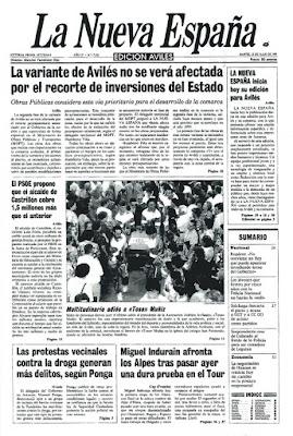 Tarjeta prefranqueada de los 25 años de La Nueva España de Avilés