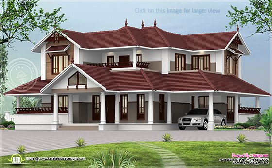 Kerala style sloping roof home exterior kerala home for Sloped roof house plans in india