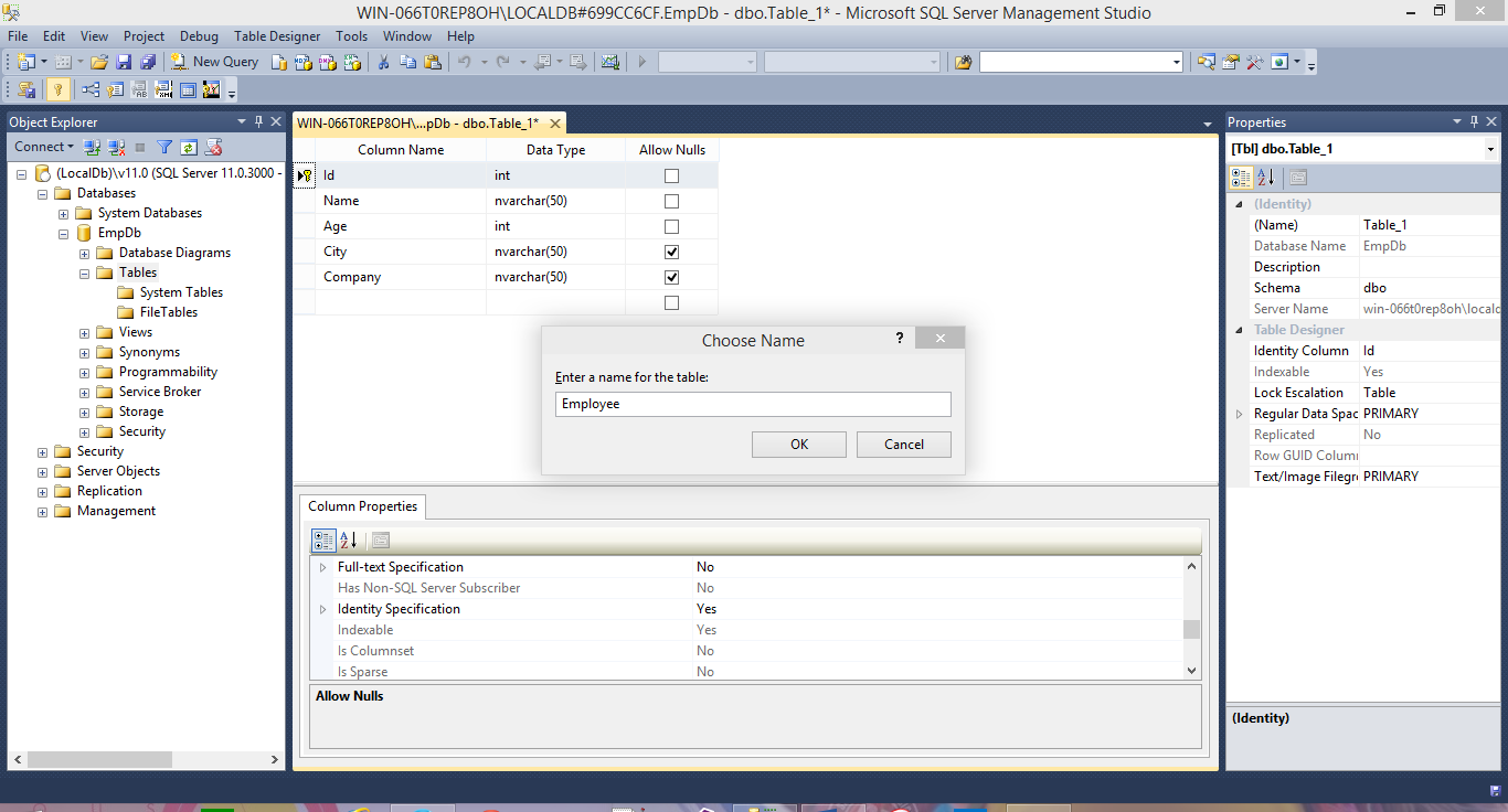 New Table in sql server