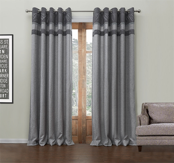 Energy Saving Curtain Modern Jacquard Polyester & Cotton Custom Curtain - 549 ( One Panel )