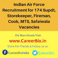 Indian Air Force Recruitment for 174 Supdt, Storekeeper, Fireman, Cook, MTS, Safaiwala Vacancies