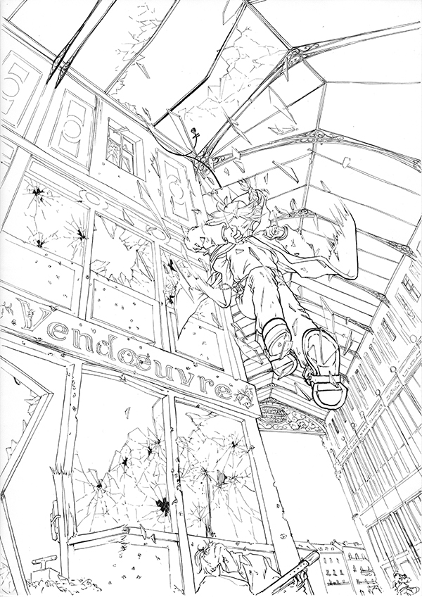 Encrage fanart FMA - Edward Elric sautant à travers une verrière
