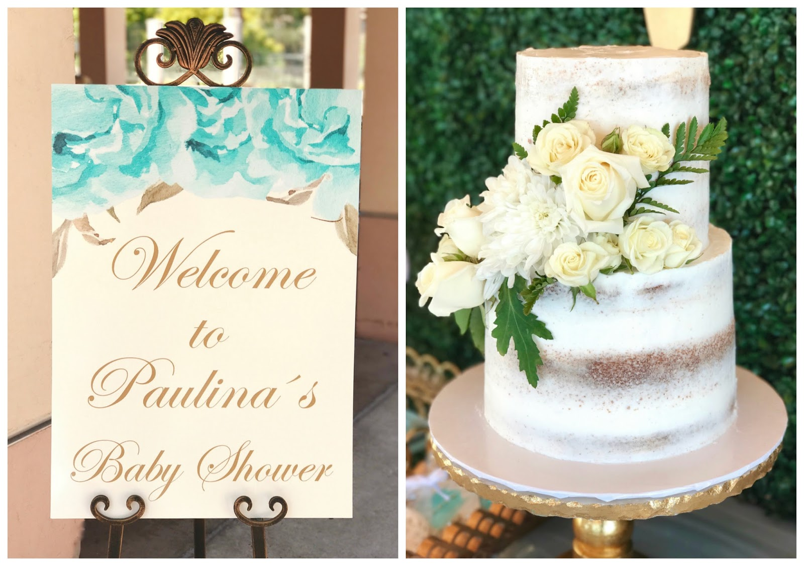 Welcome party sign, how to decorate for a baby shower, beige naked cake with flowers