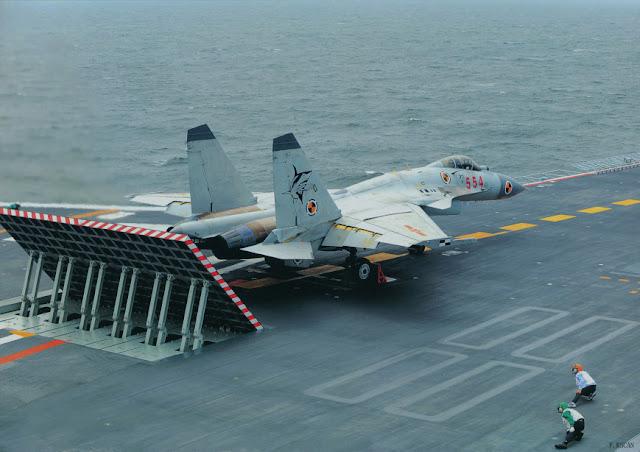 J-15 fighter preparing to take off
