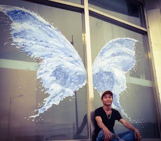 vẽ tranh 3D đôi cánh thiên thần bình dương