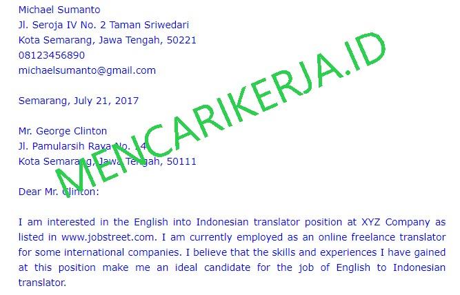 Template Cover Letter Bahasa Inggris Yang Simpel Dan Menarik Mencarikerja Id