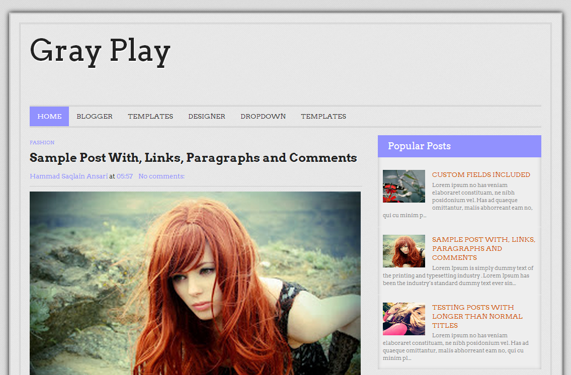 Gray Play Blogger Template